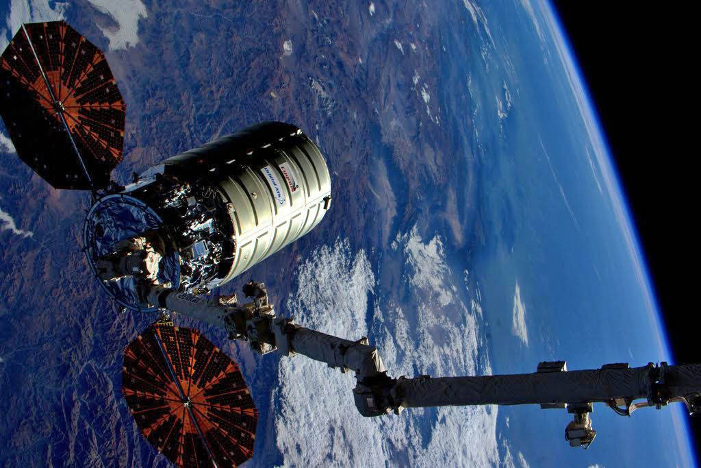 Most recent Cygnus at the space station last month. Credit: Astronaut Scott Kelly