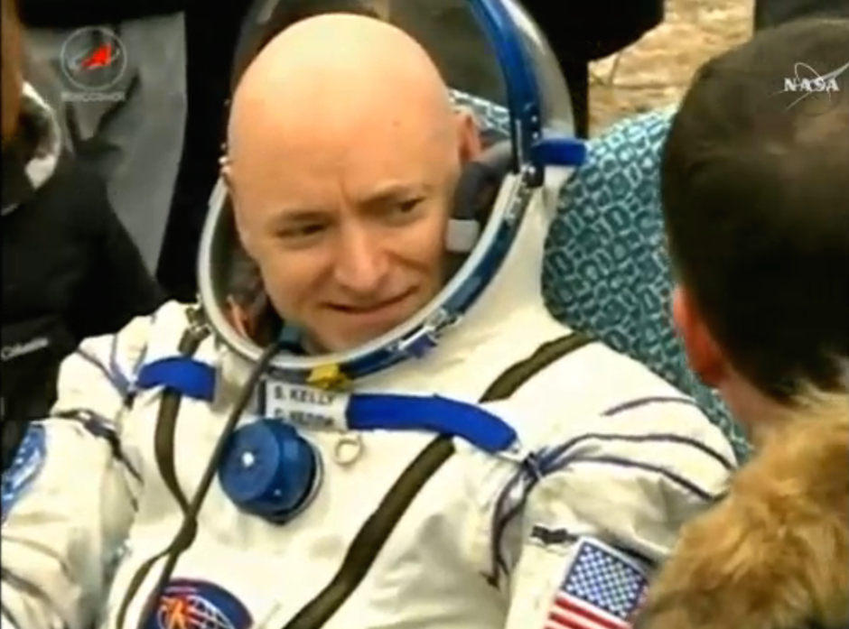 NASA astronaut Scott Kelly was in good spirits after returning to Earth. Credit: NASA TV/Spaceflight Now
