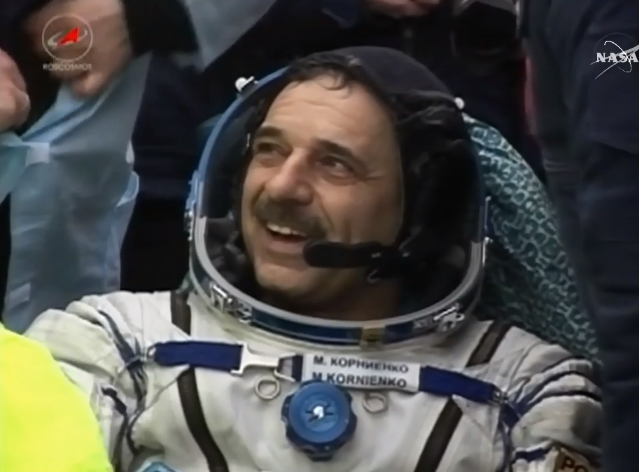Russian cosmonaut Mikhail Kornienko is all smiles after his 340-day space odyssey. Credit: NASA TV/Spaceflight Now