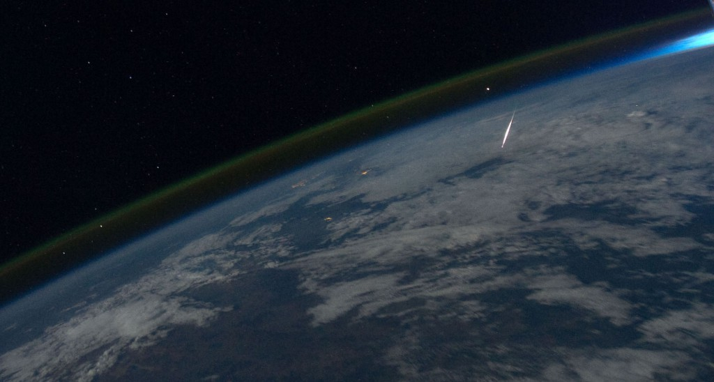 Astronaut Ron Garan, Expedition 28 flight engineer, caught this image from the International Space Station in 2011 during Perseid Meteor Shower. Credit: NASA