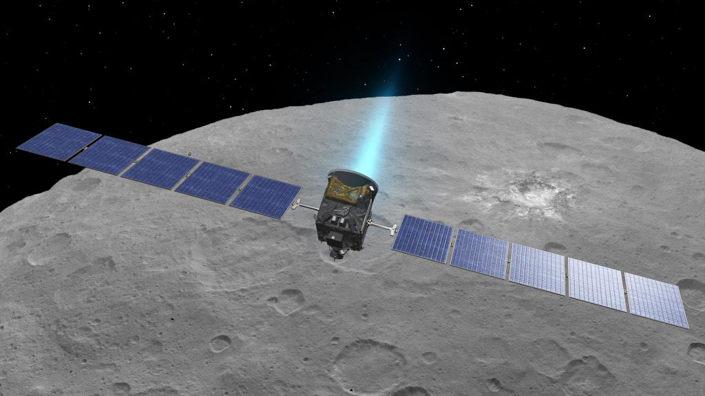 Artist's concept of the Dawn spacecraft above the dwarf planet Ceres. Credit: NASA/JPL-Caltech/UCLA/MPS/DLR/IDA