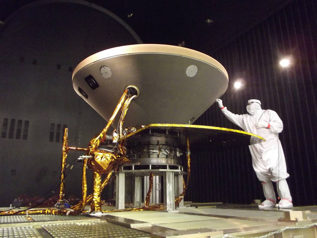 The InSight lander entering thermal vacuum testing in its cruise stage configuration at Lockheed Martin. Credit: NASA/JPL-Caltech/Lockheed Martin