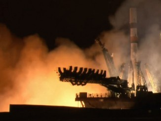 A video frame from a live webcast of Thursday's launch of a Progress space station supply ship. Credit: Roscosmos