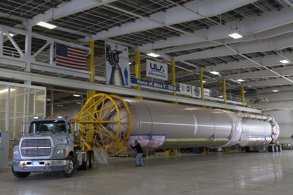 File photo of Atlas 5 first stage in ASOC. Credit: NASA-KSC
