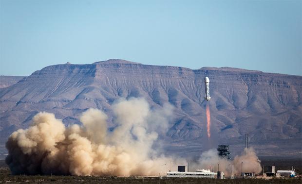 Blue Origin's New Shepard suborbital rocket and capsule blast off from the company's West Texas flight test facility Saturday. Credit: Blue Origin