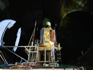 The Hitomi satellite is pictured inside a test chamber before its launch. Credit: JAXA