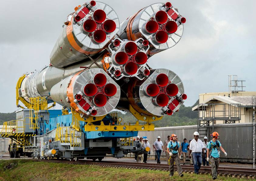 The three-stage Soyuz rocket rolled out to its launch pad in French Guiana on Tuesday, three days before liftoff. Credit: ESA/CNES/Arianespace – Photo Optique Video du CSG – JM Guillon
