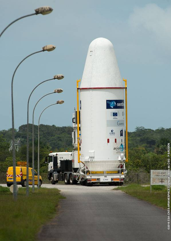 The Soyuz payload composite and Fregat upper stage were transported across the Guiana Space Center on Tuesday for attachment to the rocket. Credit: ESA/CNES/Arianespace – Photo Optique Video du CSG – P. Baudon