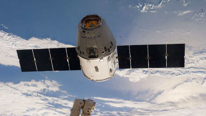 File photo of a Dragon spacecraft during a rendezvous with the International Space Station. Credit: NASA