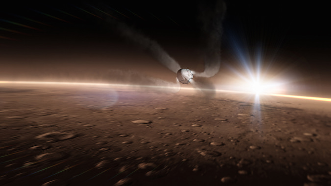 Artist's concept of the Red Dragon spacecraft entering the Martian atmosphere, using its SuperDraco thrusters to slow down for landing. Credit: SpaceX
