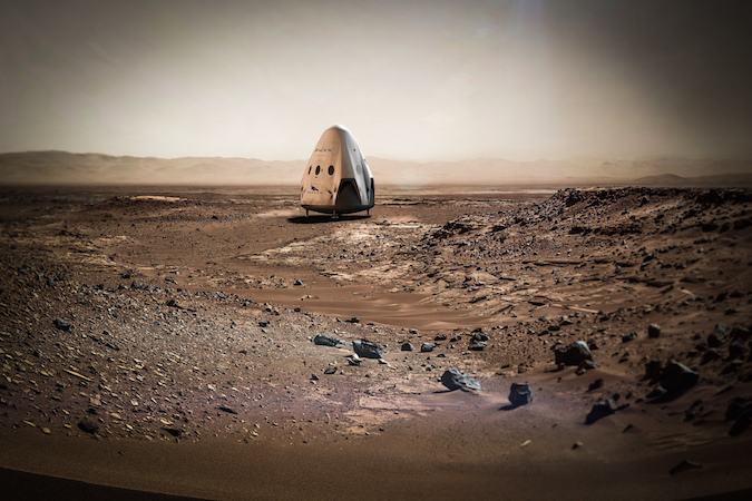 Artist's concept of the Red Dragon spacecraft on Mars. SpaceX has not disclosed the mission's targeted landing site on the red planet. Credit: SpaceX