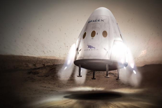 Artist's concept of SpaceX's Red Dragon spacecraft landing on Mars. Credit: SpaceX
