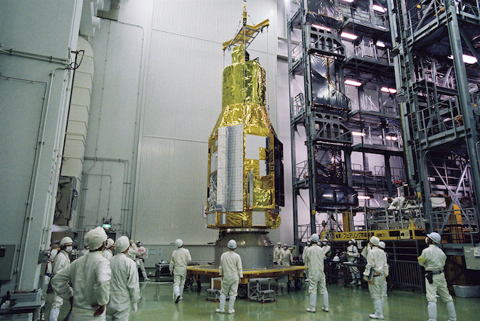 Japanese ground crews ready the Hitomi spacecraft for liftoff in February. Credit: JAXA