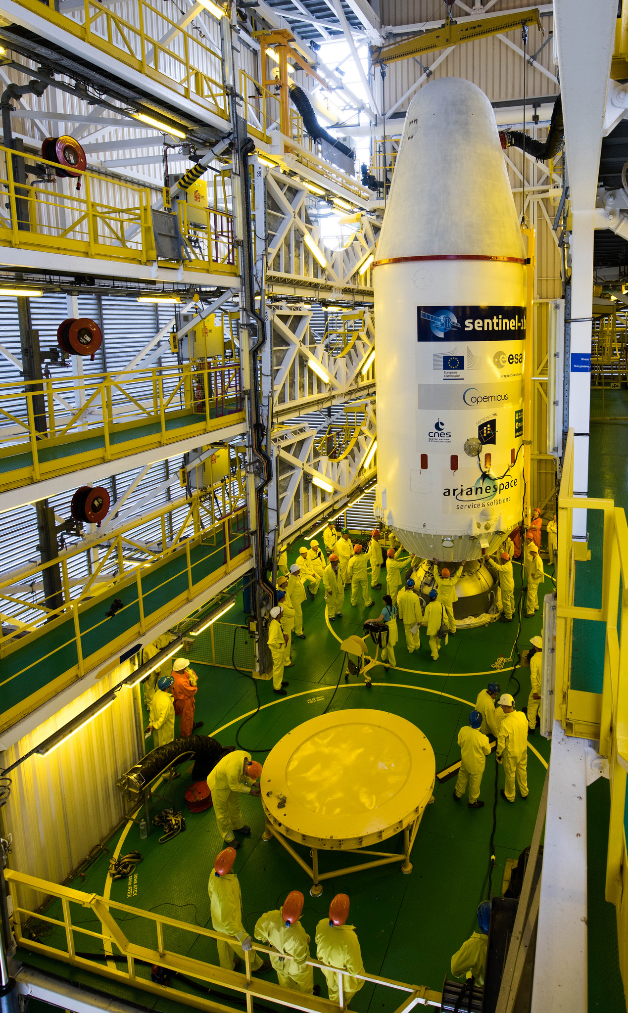 The payloads are mated to the Soyuz rocket's third stage inside the launch pad mobile gantry. Credit: ESA–Manuel Pedoussaut, 2016