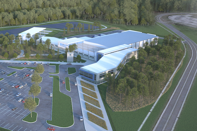 Artist's concept of the OneWeb factory at Exploration Park, Florida. Credit: OneWeb