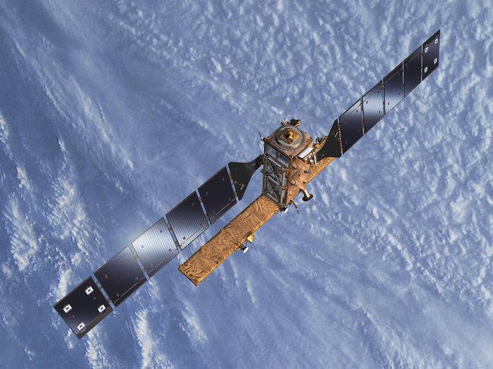 Artist's concept of the Sentinel 1B satellite in orbit. Credit: ESA–Pierre Carril