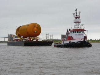 The tank left Louisiana factory on April 12. Credit: California Science Center