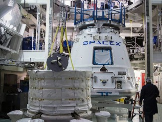 The Bigelow Expandable Activity Module is ready for installation into the Dragon spacecraft. Credit: Bigelow Aerospace