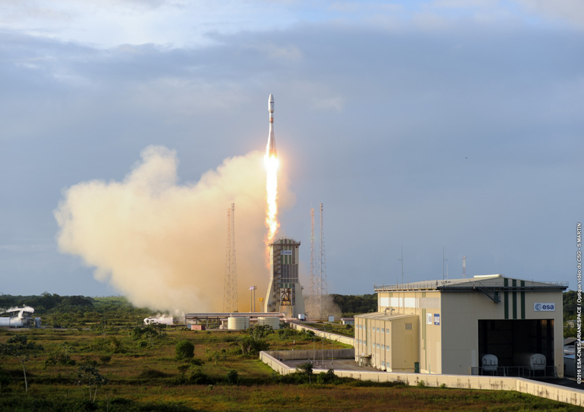 The Soyuz ST-A rocket blasts off from French Guiana Monday with Sentinel 1B, Microscope and three CubeSats. Credit: ESA/CNES/Arianespace – Photo Optique Video du CSG – JM Guillon