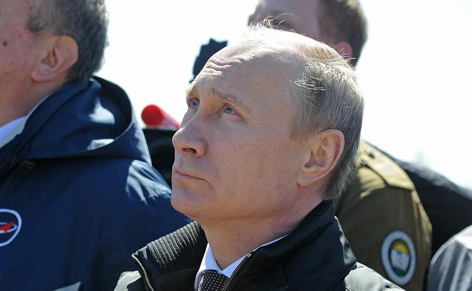 Russian President Vladimir Putin watches Thursday's launch at the Vostochny Cosmodrome. Credit: Kremlin
