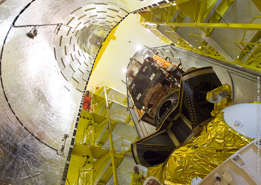 The second half of the clamshell-like fairing encloses the Soyuz rocket's payloads and Fregat upper stage. Credit: ESA/CNES/Arianespace – Photo Optique Video du CSG – JM Guillon
