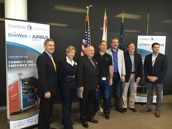 From left to right: Bob Cabana, director of NASA's Kennedy Space Center; Lynda Weatherman, president and CEO of the Economic Development Commission of Florida's Space Coast; Frank DiBello, president and CEO of Space Florida; Greg Wyler, founder of OneWeb; Brian Holz, CEO of OneWeb Satellites; David McGlade, executive chairman of Intelsat; Steve Crisafulli, Speaker of the Florida House of Representatives. Credit: OneWeb