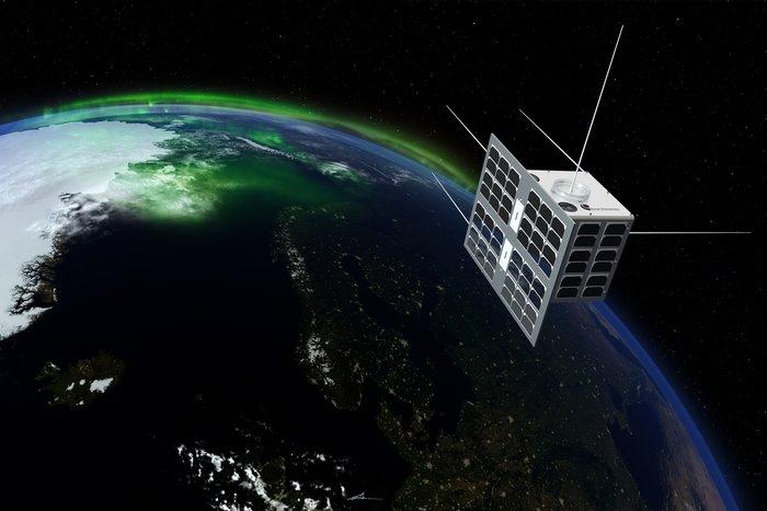 Artist's concept of the Norsat 1 microsatellite in orbit. Credit: ESA/T. Abrahamsen