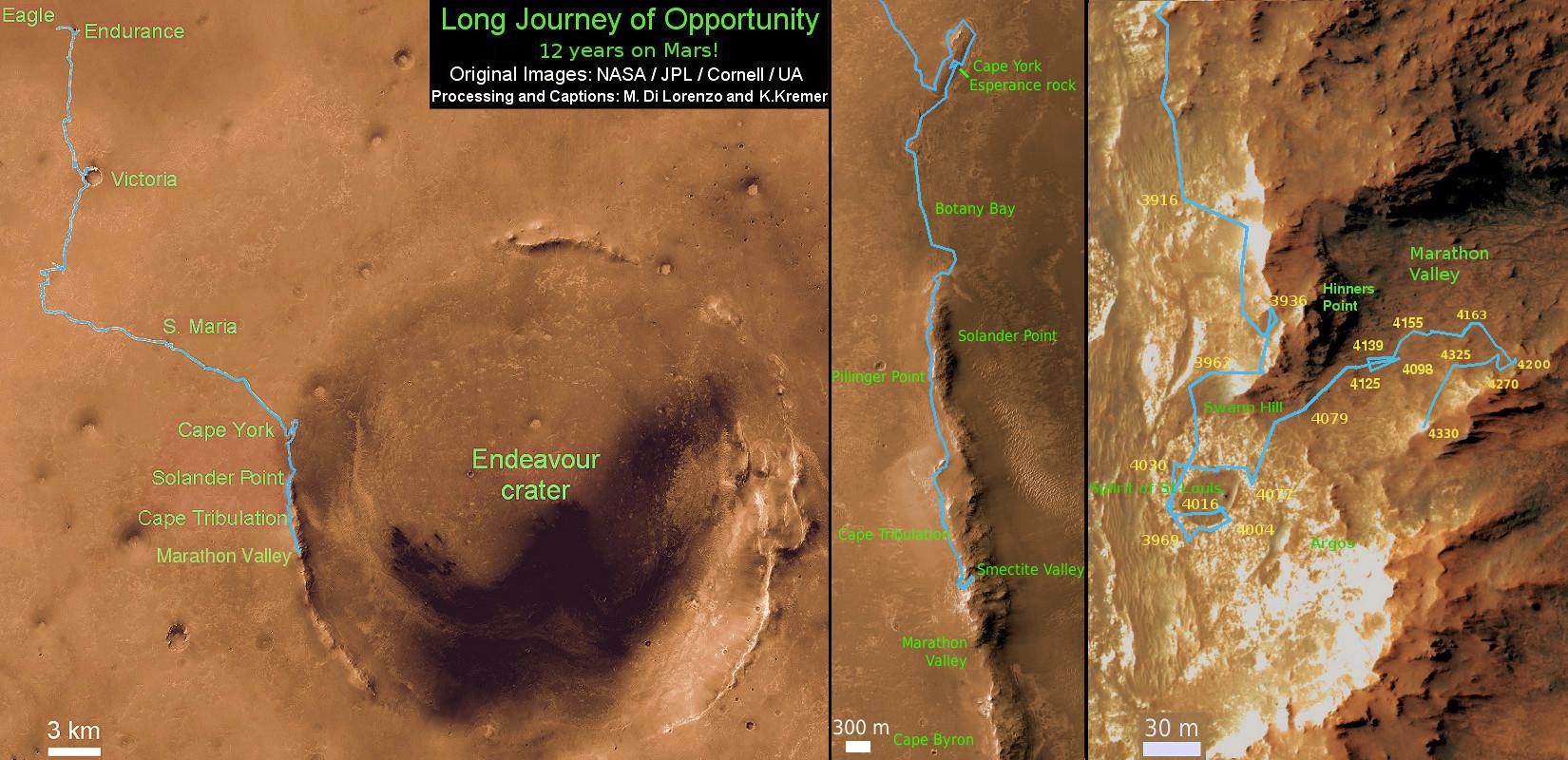 Opportunity Route Map Sol 4332_Ken Kremer