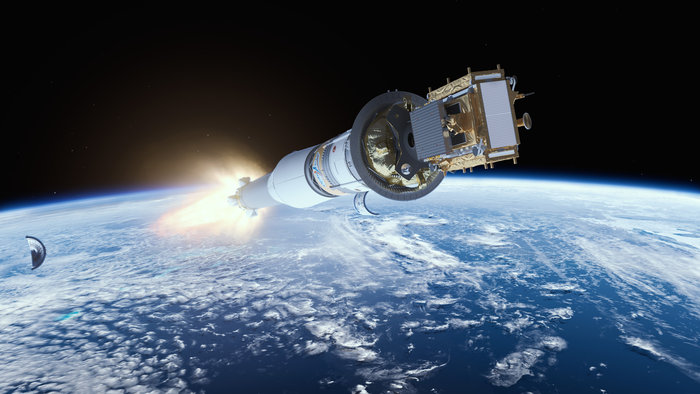 Artist's concept of the Sentinel 1B satellite aboard its Soyuz booster moments after fairing separation. Credit: ESA/ATG medialab