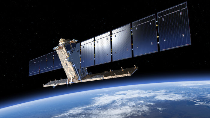 Artist's concept of the Sentinel 1B satellite with solar arrays and radar antenna deployed. Credit: ESA/ATG medialab