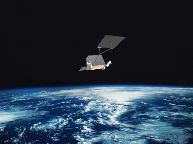 Artist's concept of a OneWeb satellite in orbit with an electric thruster. Credit: OneWeb