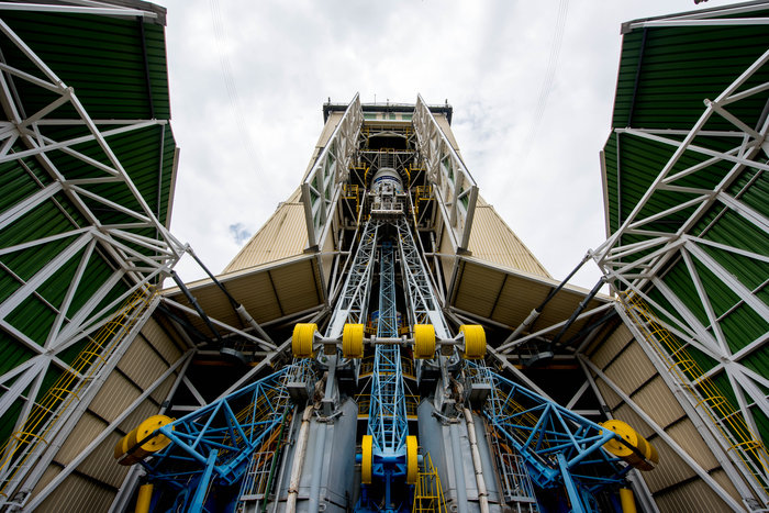 The Soyuz rocket sits inside its mobile gantry at the launch pad in French Guiana on Sunday. Credit: ESA–Manuel Pedoussaut, 2016