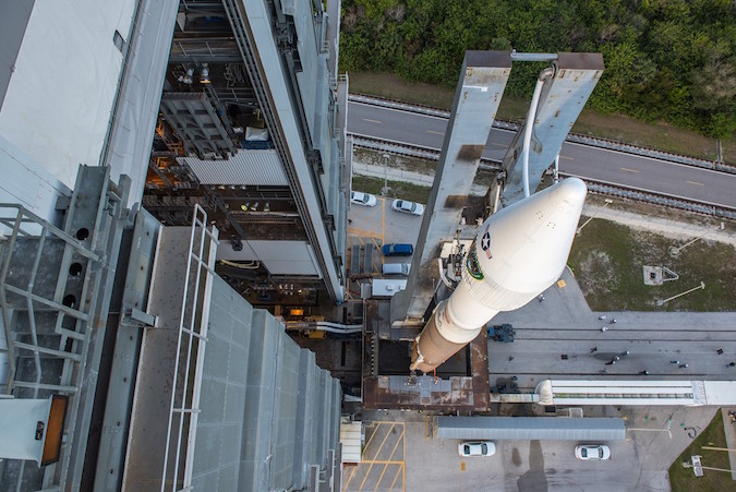 File photo of an Atlas 5 rocket with a 4-meter metallic fairing. Credit: ULA