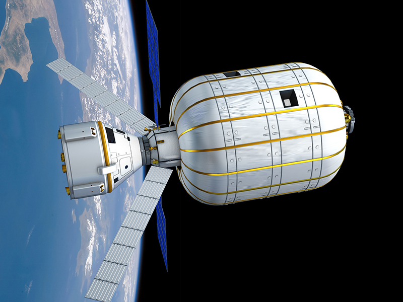 Illustration of B330 module with a Boeing Starliner crew capsule docked. Credit: Bigelow Aerospace