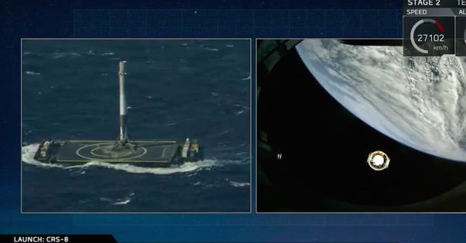 A split-screen view during SpaceX's launch webcast showed the Falcon 9 first stage booster after touchdown on the drone ship, while the Dragon cargo capsule is deployed from the Falcon 9's upper stage in orbit. Credit: SpaceX