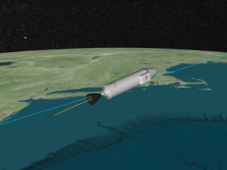 The second stage of the Falcon 9 rocket shuts down after reaching a target orbit with a low point of approximately 124 miles (200 kilometers), a high point of approximately 223 miles (360 kilometers) and an inclination of 51.6 degrees. The second stage will reignite for a de-orbit burn soon after deploying the Dragon spacecraft, aiming for a destructive re-entry over the Southern Ocean south of Australia.