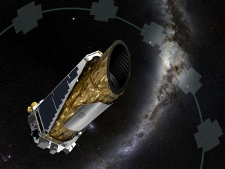 Artist's concept of the Kepler observatory with survey regions highlighted in the sky. Credit: NASA