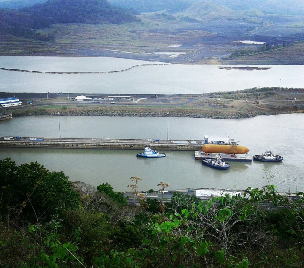 The tank passed the Pedro Miguel Locks on Tuesday. Photo by Panama Canal @thepanamacanal