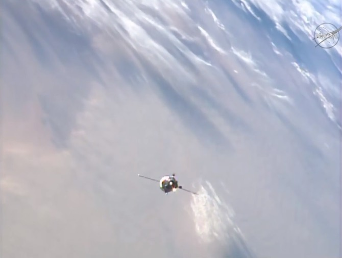 The Progress MS-02 supply craft approaches the International Space Station on Saturday. Credit: NASA TV/Spaceflight Now
