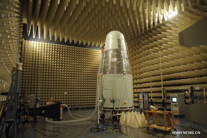 The Shijian 10 spacecraft is pictured inside a test chamber before launch. Credit: China Academy of Sciences/Xinhua