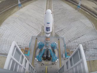 The Soyuz-2.1a rocket stands on its launch pad at the Vostochny Cosmodrome. Credit: Roscosmos