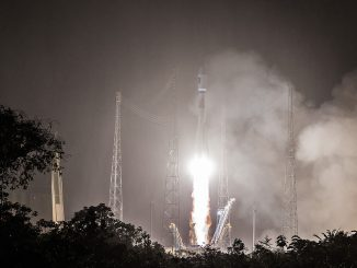 A Soyuz rocket blasted off at 0848 GMT (4:48 a.m. EDT; 5:48 a.m. French Guiana time) Tuesday from the European-run spaceport in French Guiana. Credit: ESA/CNES/Arianespace – Photo Optique Video du CSG – P. Piron
