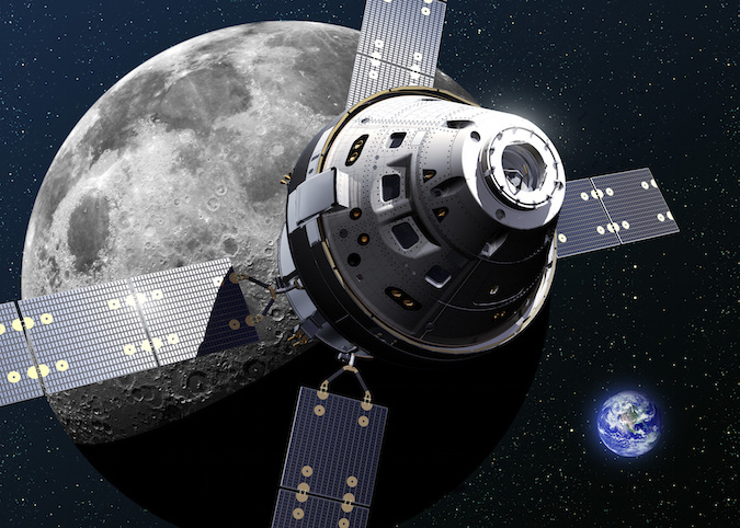 Artist's concept of an Orion spacecraft and its European-built service module near the moon. Credit: Lockheed Martin