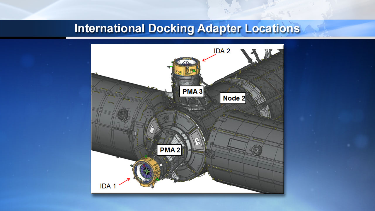 Artist's concept showing the locations planned for the first two International Docking Adapters. IDA 2, set for launch this summer, will take the place intended to be occupied by IDA 1 on the forward part of the Harmony module. IDA 3 will take the zenith port on Harmony. Credit: NASA