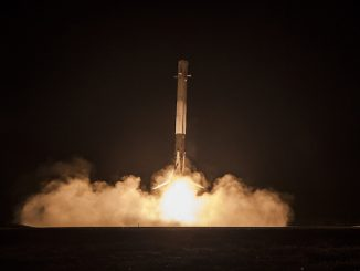 A first stage of SpaceX's Falcon 9 rocket returned to its first landing at Cape Canaveral Air Force Station in December. Credit: SpaceX