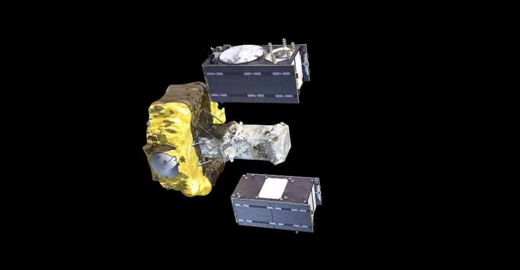 Artist's concept of two Galileo satellites deploying from the Fregat upper stage. Credit: ESA