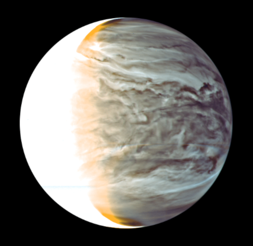 One of Akatsuki's infrared cameras took this image of the night side of Venus, the most detailed view of the planet's nighttime clouds ever acquired. Credit: JAXA