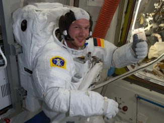 Alexander Gerst is pictured during spacewalk preparations on the space station in 2014. Credit: NASA/ESA