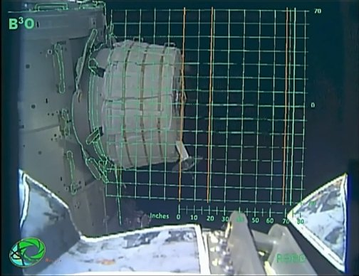 Mission control used this grid to chart the progress of BEAM's expansion. Credit: NASA TV