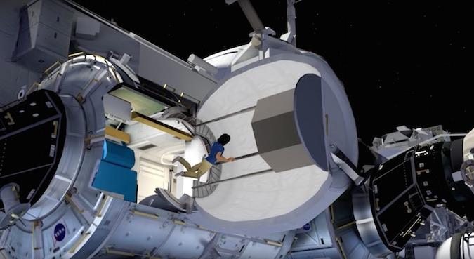 Artist's concept of an astronaut entering BEAM. Credit: NASA